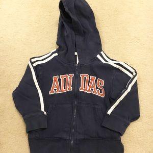 Adidas front zip logo sweatshirt with hood